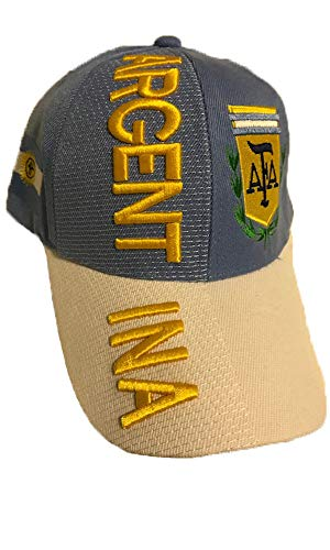 Baseball Caps Hats with Five 3D Embroideries – Countries of Americas (Country: Argentina - Blue)