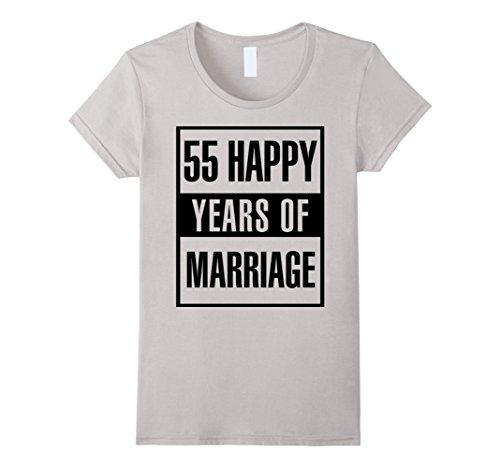 Womens 55th Wedding Anniversary Gift Idea Husband And Wife T-Shirt Medium Silver