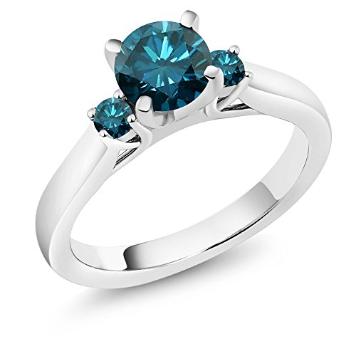 1.00 Ct Round Blue Diamond 925 Sterling Silver 3-Stone Ring by Gem Stone King