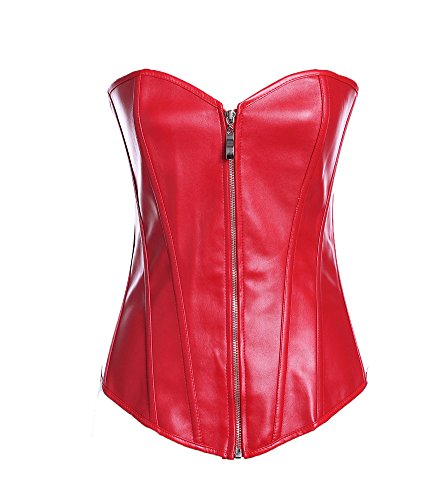 [VIGVOG Women's Steampunk Goth Plus Size Zip Overbust Corset Vest Costume] (Gamora Costume Top)