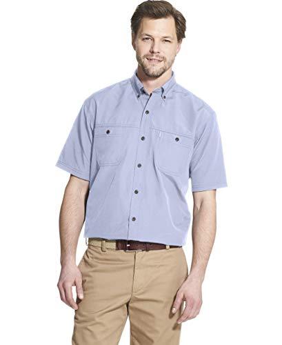 (G.H. Bass & Co. Men's Explorer Short Sleeve Fishing Shirt Solid Button Pocket, Chambray Blue, X-Large)