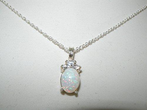 Haute Qualité Pendentif pour Femme en Argent fin 925/1000 sertie d'Opale et Oxyde de Zirconium