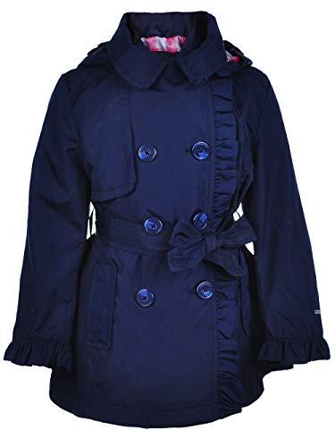 London Fog Girls' Lightweight Trench Coat (14/16, Navy/Plaid)
