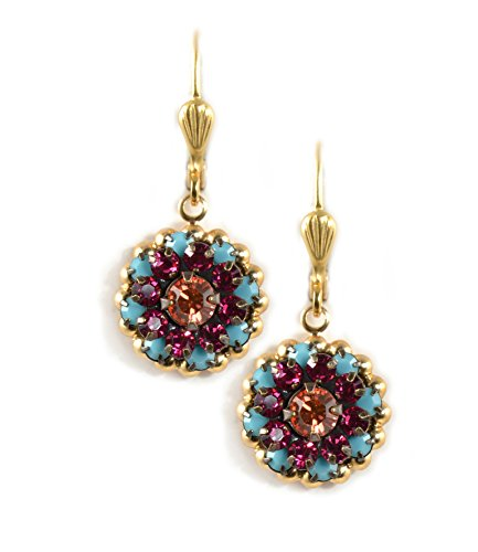 Clara Beau Multicolor Flower Swarovski Glass Crystal Mosaic GoldTone Earrings EF55