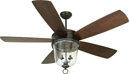 Outdoor Ceiling Fan with Light and Remote, Craftmade FB60OBG5 Fredericksburg 60 Inch for Patio Walnut Blades, Bronze ()