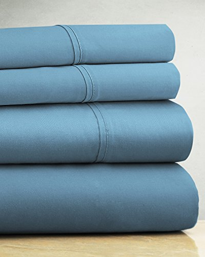 Luxor Linens Martano Luxurious 600-Thread-Count 100% Egyptian Cotton 4-Piece Solid Sheet Set - Extra Long Staple, Crisp & Cool - King - Pacific (Michael Cotton Fitted Sheet)