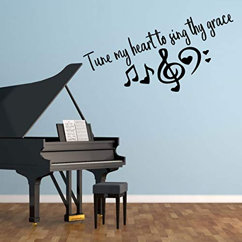 (Christian Music Room Decor - Treble Clef Symbol, Music Notes, and Hearts – 'Tune my Heart to Sing Thy Grace' Vinyl Wall Decal for Living Room, Bedroom, Classroom or Musician Practice Room)