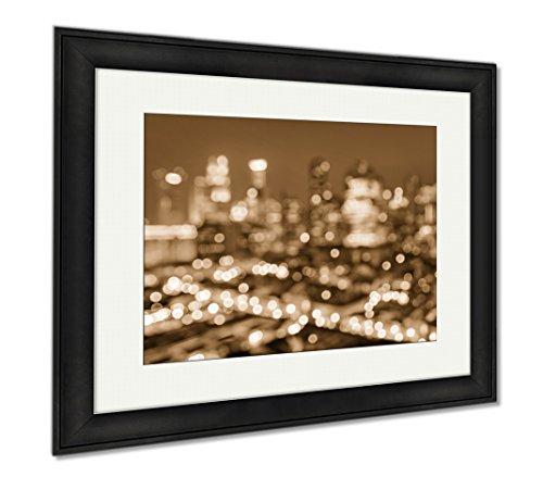 Ashley Framed Prints Bokeh Filter Of Singapore Skyline From Above During The Blue Hour Asian Modern, Office/Home/Kitchen Decor, Sepia, 30x35 (frame size), Black Frame, - Light Glasses Filter Singapore Blue