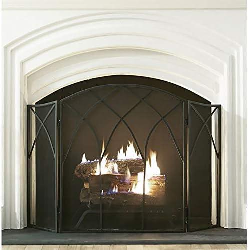 暖炉用品 アクセサ 3パネル錬鉄暖炉スクリーン - 50.4「L×31.5」H、暖炉立ち門スパークガードメッシュカバー付き