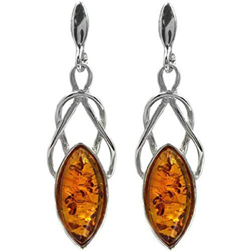 Baltic Amber Sterling Silver Celtic Earrings