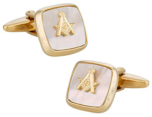 Cuff Daddy Gold Cufflinks (Cuff-Daddy Masonic Compass Cufflinks Gold Mother of Pearl with Presentation Box)