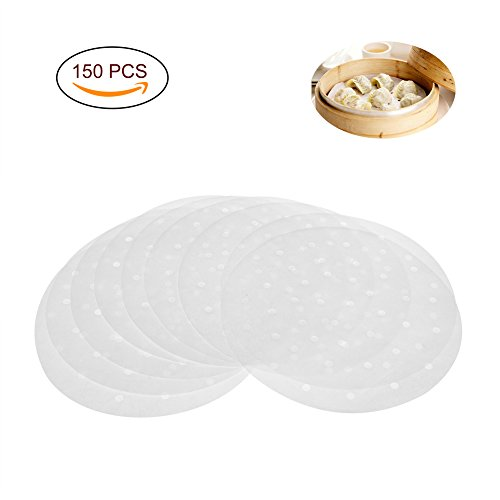 Uarter Premium Perforated Parchment Round Bamboo Steamer Paper Liners ,Diameter 9 Inch, Suitable for Air Fryer, Steaming Basket, Cooking, Vegetables, Rice, Dim Sum (9' Steamer Basket)