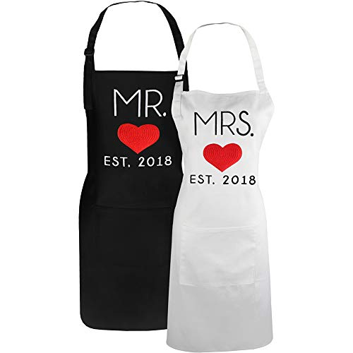 Mr. and Mrs. 2018 Wedding Anniversary Couples Cooking Aprons, First Year for Couples, 1st Wedding Gift Idea