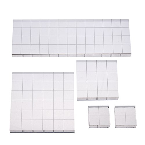 Shappy Stamp Block Acrylic Block with Grid Lines, Assorted Sizes, 5 (Line Stamp Sets)