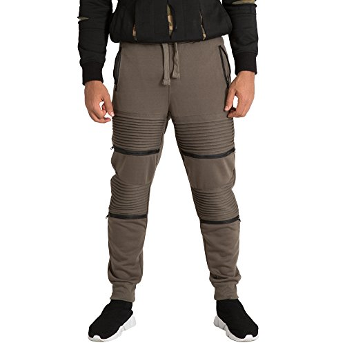 Vibes Gold Label Mens Double Moto Zipper?Knee Trim?Olive Fleece Jogger Pants Rib Cuff Waist Size S
