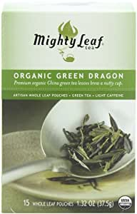 Mighty Leaf Tea Organic Green Dragon Tea, 15-Count Whole Leaf Pouches (Pack of 3)