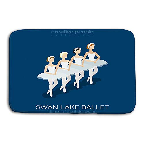 - Kitchen Floor Bath Entrance Door Mats Rug Dancing Ballerinas swan Lake Ballet Dance Little Swans Flat d Isometric Classic Female Performers Creative People Non Slip Bathroom Mats 23.6