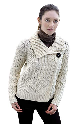 100% Extra Soft Irish Merino Wool One Button Cardigan, Natural, X-Large