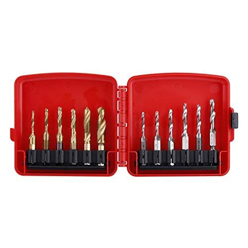New Hot 12Pcs/Set M3-M10 Thread Tap Screw Taps Hex Shank Titanium Plated HSS Screw Thread Metric & Inch Tap Drill Bit Tapping Tool Set