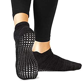 LA Active Grip Socks - Yoga Pilates Barre Ballet Non Slip Non Skid Maternity with Grippers - Black - Large: Women's 9.5-12 / Men's 8.5-11