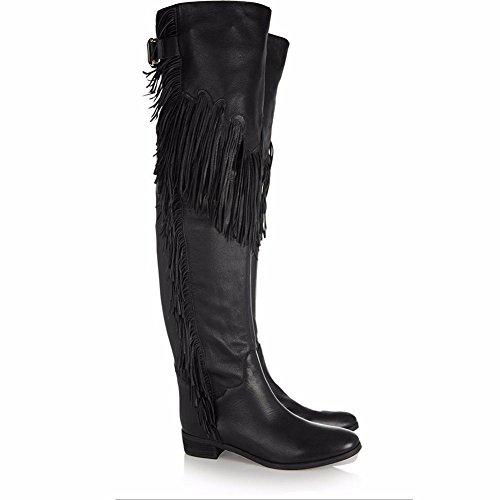 Haut Talon Gland Noce black L Femmes YC Daim automne Hiver En Bottes Chaussures pour Plat amp; Confort Bout Pointu Bottes Genou Mode TavTw