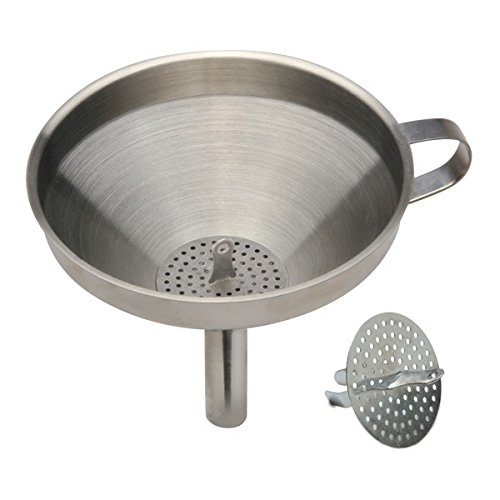 Norpro 5-Inch Stainless Steel Funnel with Detachable Strainer