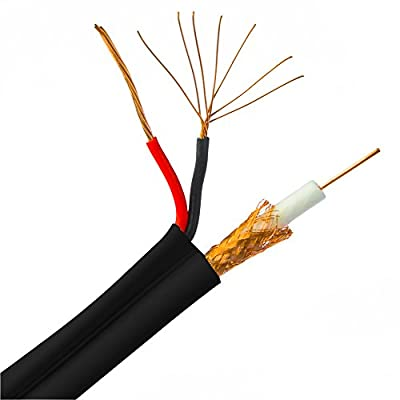 1000Ft Bulk RG59 Siamese Coaxial/Power Cable, Black, Solid Core (Copper) Coax, 18/2 (18 AWG 2 Conductor) Stranded Copper Power, Spool