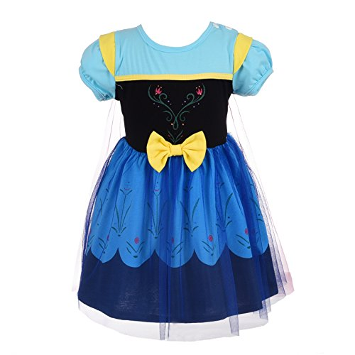 Dressy Daisy Princess Anna Dress for Baby Girls with Cape Halloween Fancy Party Costume Dress Size 12-24 Months