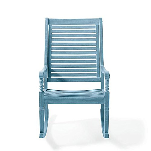 (Traditional Bayside Weathered Blue Hardwood Rocking Chair Porch Rocker Outdoor Patio Furniture)