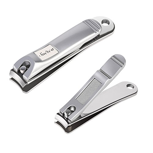 Nail Clippers, Sucica Stainless Steel Fingernail & Toenail Clippers Sharp Nail Cutter - Heavy Duty Nail Clippers for Men & Women (Set of -