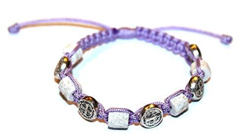 MEDJUGORJE - Chaplet - Bracelet from Apparation hill stones - Purple Thread