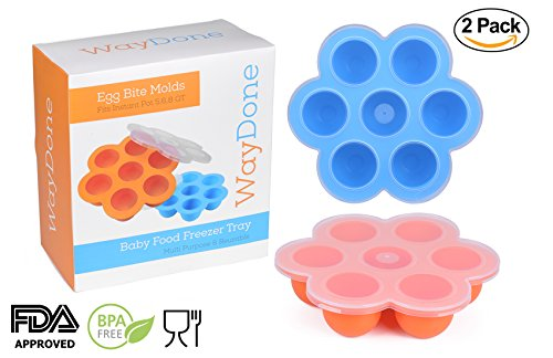 WayDone 2 Pack Silicone Egg Bites Molds for Instant Pot Accessories 5,6,8 qt Pressure Cooker, Baby Food Freezer, Reusable Storage Container with Lids FDA Approved BPA Free Multi Purpose