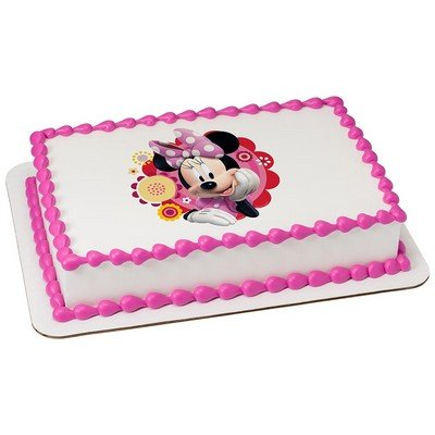 Cool Minnie Mouse Edible Cake Cupcake Party Topper For 8 Inch Round Funny Birthday Cards Online Alyptdamsfinfo