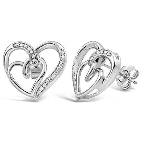 Diamond Heart Earrings in Sterling Silver 1/10 cttw