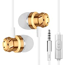 Earphones In Ear Headphones Earbuds with Microphone for iPhone Android Smartphone Tablet Laptop 3.5mm Audio Plug Devices (Gold)