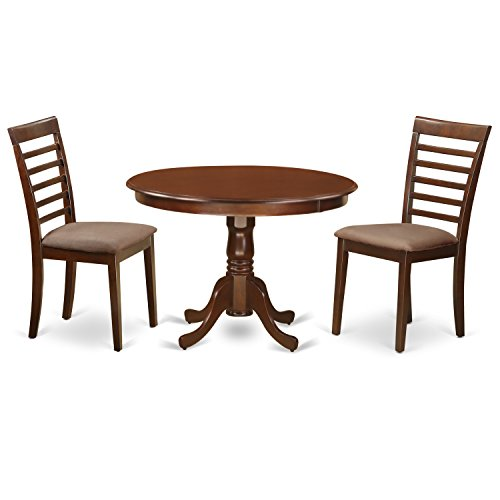East West Furniture HLML3-MAH-C 3 PC Hartland Set with One Kitchen Table & 2 Microfiber Upholstery Seat Dinette Kitchen Chairs in a Beautiful Mahogany Finish