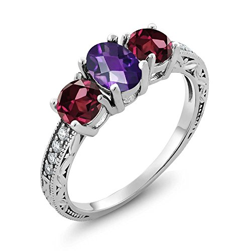 Gem Stone King 2.07 Ct Oval Checkerboard Purple Amethyst Red Rhodolite Garnet 925 Sterling Silver Ring (Size 5)