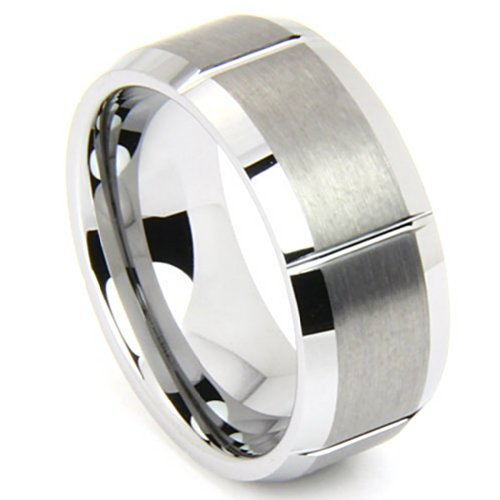 Tungsten Matte and Polished 8mm Comfort Fit Ring , Size 7.5 by The Men's Jewelry Store (Unisex Jewelry)