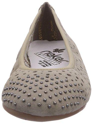 Rieker 43495 - Bailarinas de cuero para mujer beige - Beige (leinen / 64)
