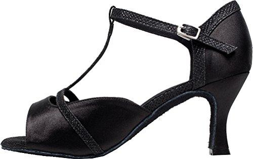 Noir Chaussure Sur Cha Pouces 4 15 Mesure cha Pour Femmes Latin De toe Cfp Peep Aiguille Talon 3 Bal Cm 2 Tango S1dw4nq