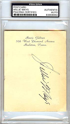 Willie Mays Autographed 3.5x4.5 Postcard New York Giants Vintage Rookie Year Signed In 1951#83908650 PSA/DNA Certified