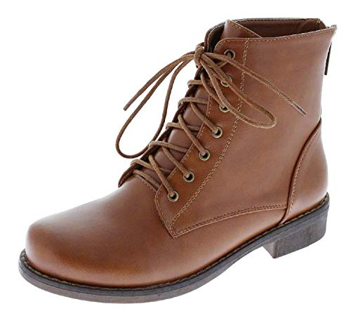 Harper Shoes Womens Combat Boots Military Lace Up with Rear Zipper, Tan Cognac, 9