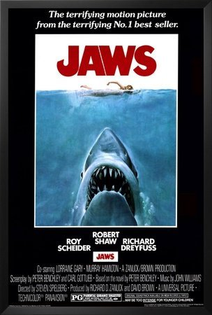 Jaws (1975) Framed Black Wood Movie Poster Print 24x36 (Movie Posters Framed compare prices)