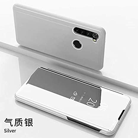 TiHen Funda Xiaomi Redmi Note 8 Pro,Funda + Cristal Templado 2 Piezas Flip Clear View Translúcido Espejo Standing Cover Slim Fit Mirror 360°Protectora Cubierta para Xiaomi Redmi Note 8 Pro Plata
