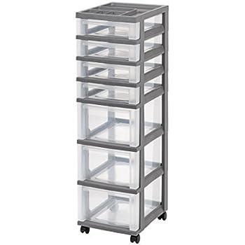 IRIS 7-Drawer Rolling Storage Cart with Organizer Top, Gray