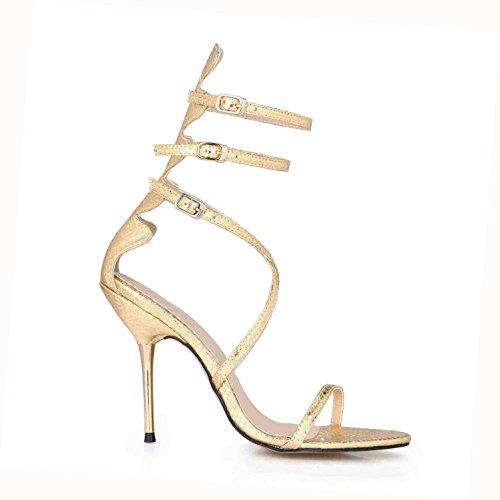 cruzadas para de Peep boda Correas EU35 altos 4U® Cremallera de verano Zapatos la de Best Oro PU Sandalias de Cómodas básicas bombas 7CM goma toe Tacones 10 Premium mujer la suela 6E7qxIw