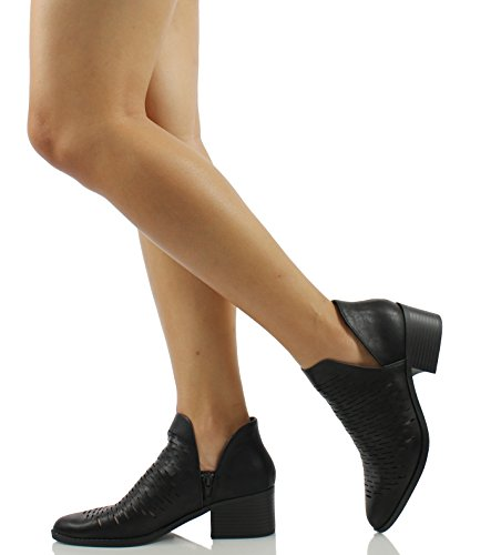 Western Black City Womens Dash V Classified Ankle Perforations Bootie Stacked Low Tiny Cutout Side Heel Rq6qxXwp