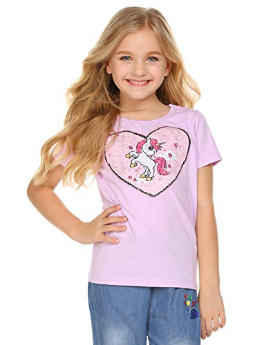 - Balasha Girl's Short Sleeve Crewneck Tee Unicorn Flip Sequin T-Shirt Tops Purple, 3-4 Y