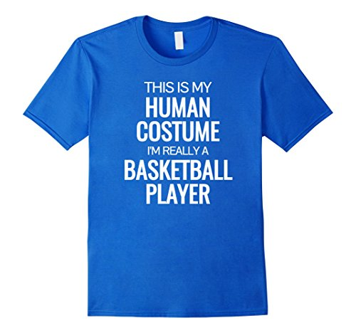 Mens Human costume Im really a basketball player Halloween Tshirt Small Royal Blue