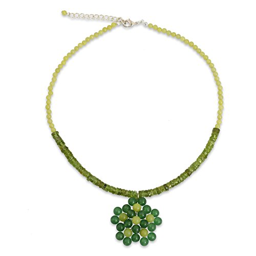 NOVICA Multi-Gem Green Quartz .925 Sterling Silver Plated Beaded Necklace, 16.5